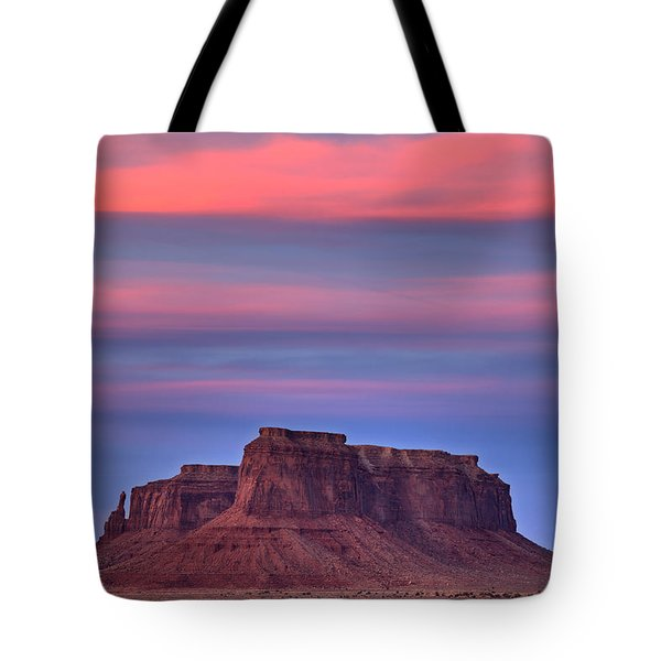 Tote Bag featuring the photograph Monument Valley Sunset by Alan Vance Ley