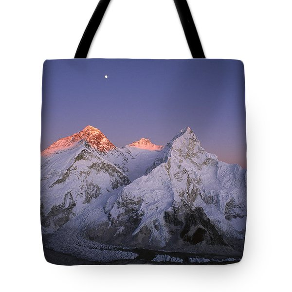 Tote Bag featuring the photograph Moon Over Mount Everest Summit by Grant  Dixon