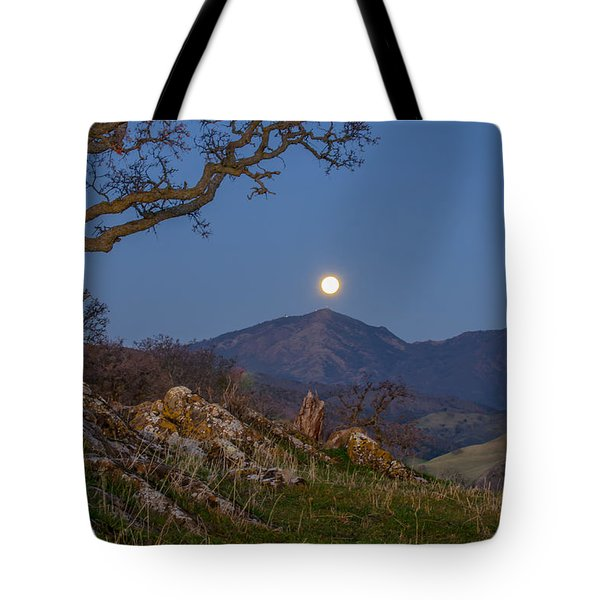 Moon Over Mt Diablo Tote Bag by Marc Crumpler
