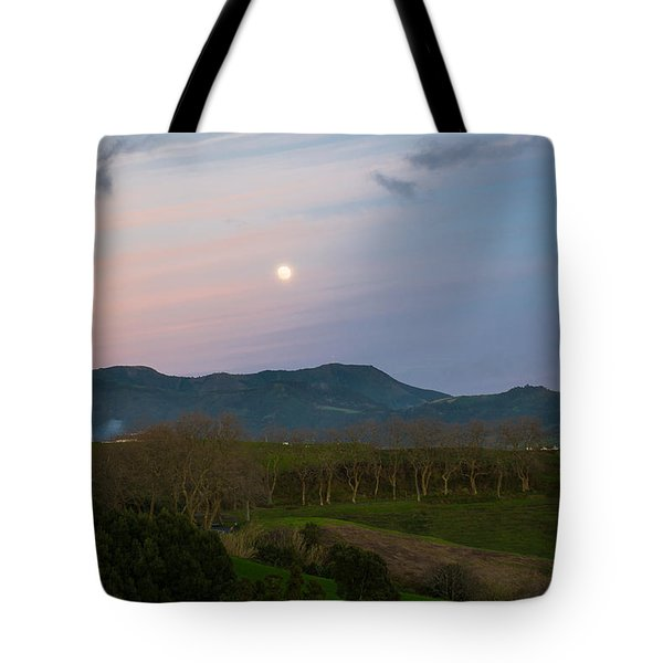 Moon Over The Hills Of Povoacao Tote Bag