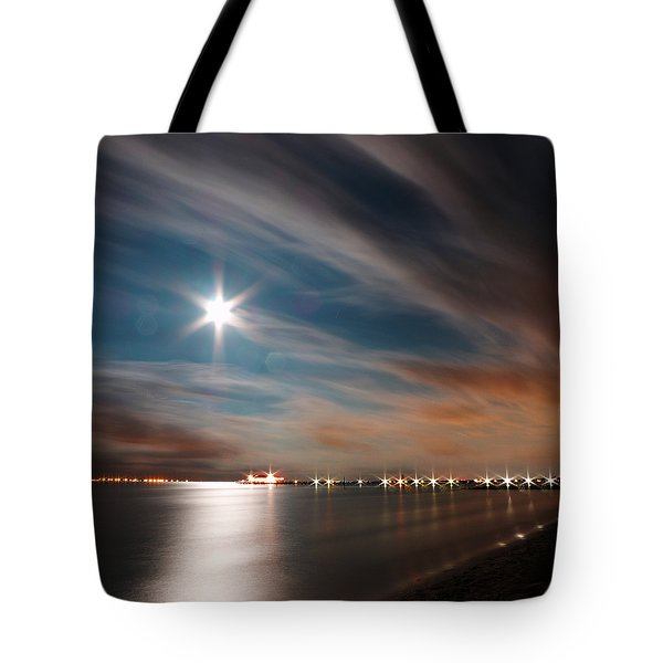 Moon Rise Over Anna Maria Island Historic City Pier Tote Bag