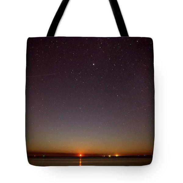 Moonrise On Tybee Island Tote Bag