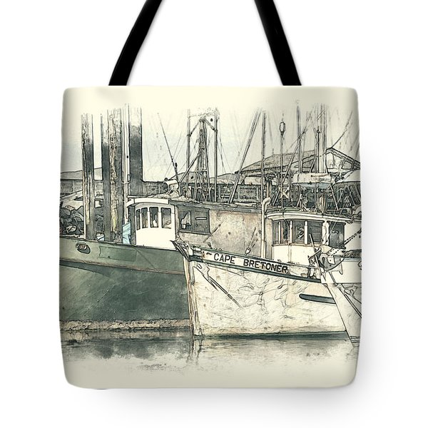 Moored Fishing Boats Tote Bag by Richard Farrington