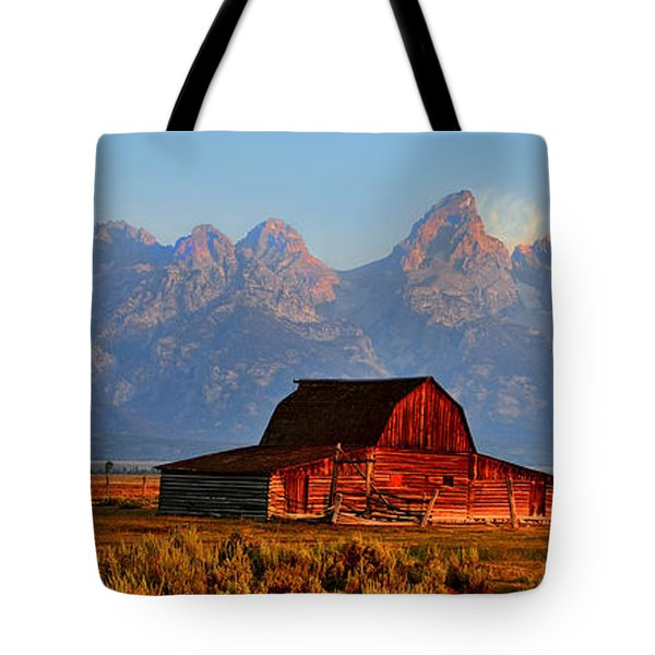 Mormon Row And The Grand Tetons  Tote Bag by Ken Smith