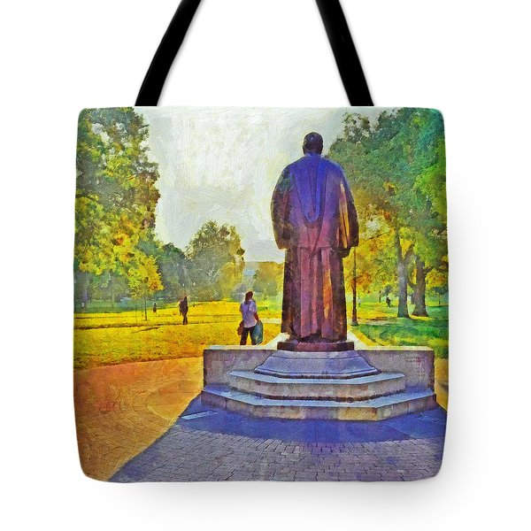 Morning On The First Day Of Classes. The William Oxley Thompson Statue. The Ohio State University Tote Bag
