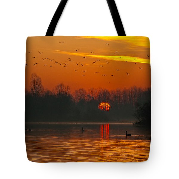 Morning Over River Tote Bag