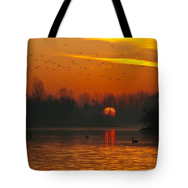Tote Bag featuring the photograph Morning Over River by Davor Zerjav