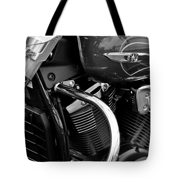 Motorcycle Engine Black And White Tote Bag