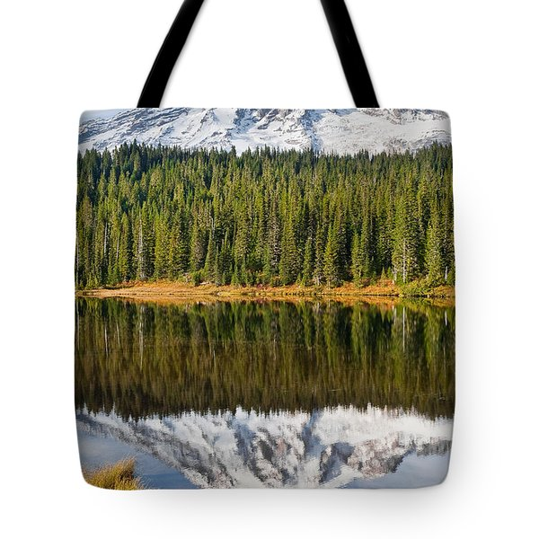 Mount Rainier And Reflection Lakes In The Fall Tote Bag