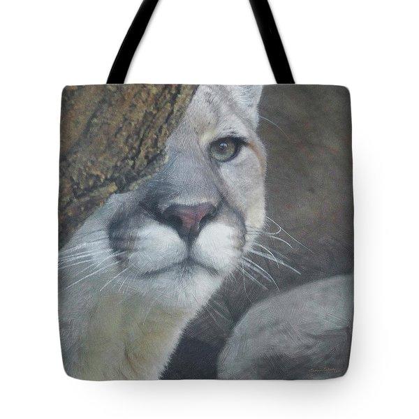 Mountain Lion Painterly Tote Bag by Ernie Echols