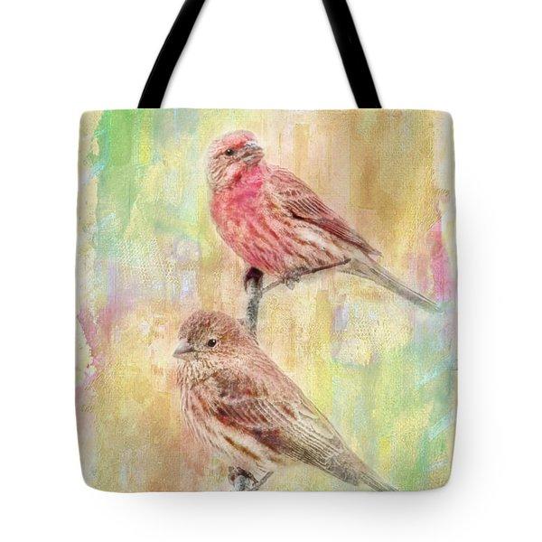 Mr And Mrs House Finch - Digital Paint Tote Bag by Debbie Portwood