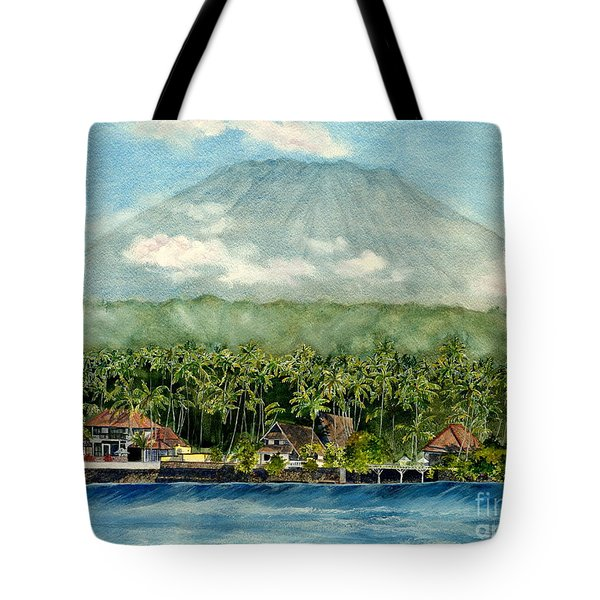 Tote Bag featuring the painting Mt. Agung Bali Indonesia by Melly Terpening