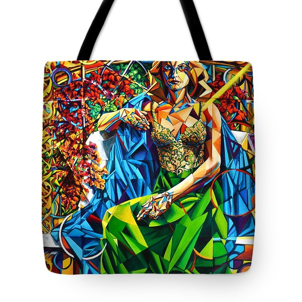 Tote Bag featuring the painting Muse  Summer by Greg Skrtic