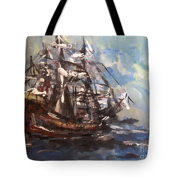 Tote Bag featuring the painting My Ship by Laurie Lundquist