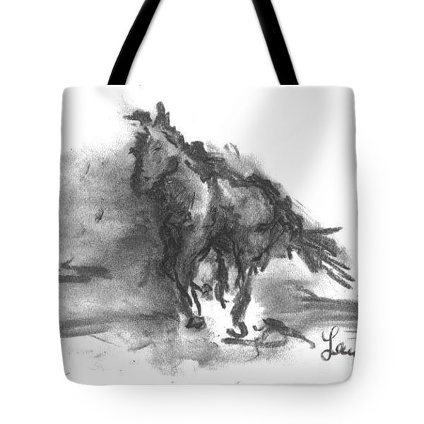 Tote Bag featuring the drawing My Stallion by Laurie Lundquist