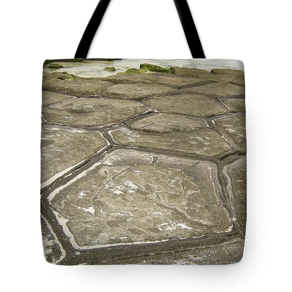 Natural Forming Pentagon Rock Formations Of Kumejima Okinawa Japan Tote Bag by Jeff at JSJ Photography