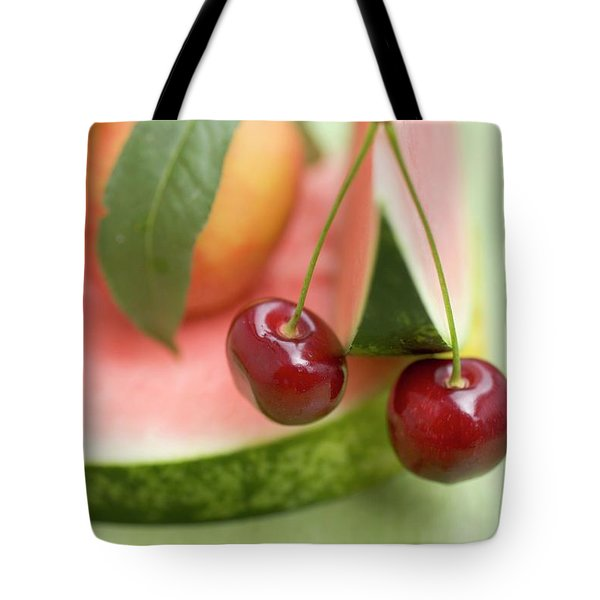 Nectarine With Leaves, Watermelon And Cherries Tote Bag