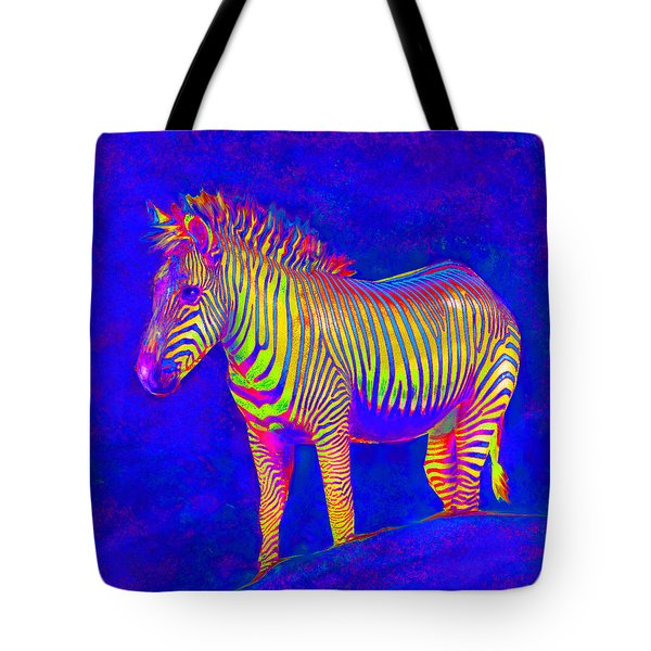 Tote Bag featuring the digital art Neon Zebra 2 by Jane Schnetlage