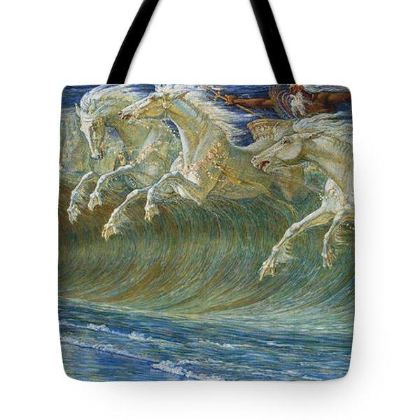 Neptune's Horses Tote Bag by Walter Crane