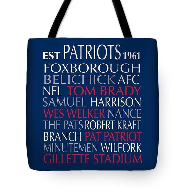 Tote Bag featuring the digital art New England Patriots by Jaime Friedman
