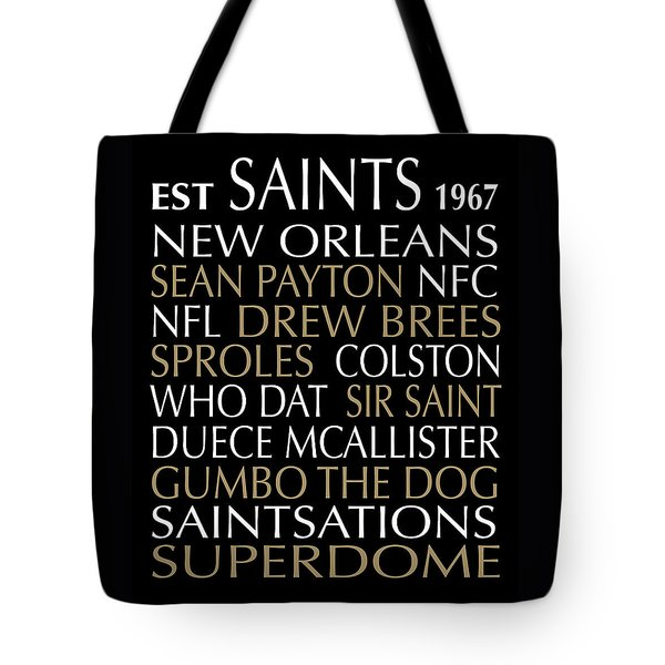 Tote Bag featuring the digital art New Orleans Saints by Jaime Friedman