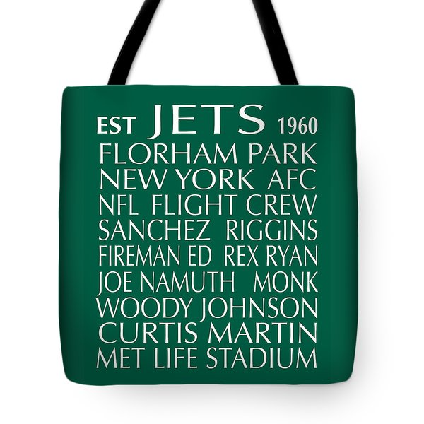 Tote Bag featuring the digital art New York Jets by Jaime Friedman