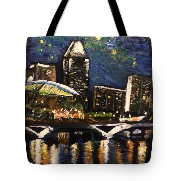 Tote Bag featuring the painting Night On The River by Belinda Low