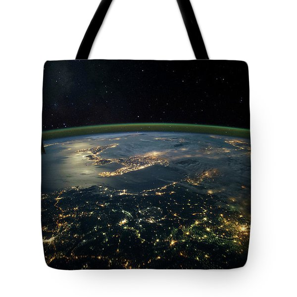 Night Time Satellite View Of Planet Tote Bag