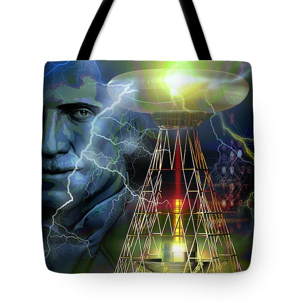 Tote Bag featuring the digital art Nikola Tesla by Shadowlea Is
