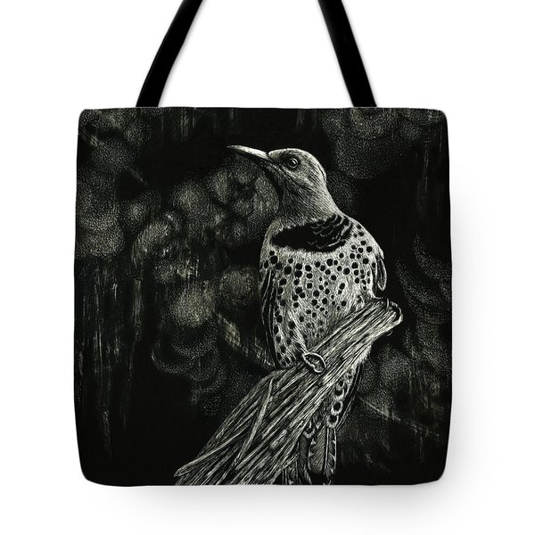 Tote Bag featuring the drawing Northern Flicker by Sandra LaFaut
