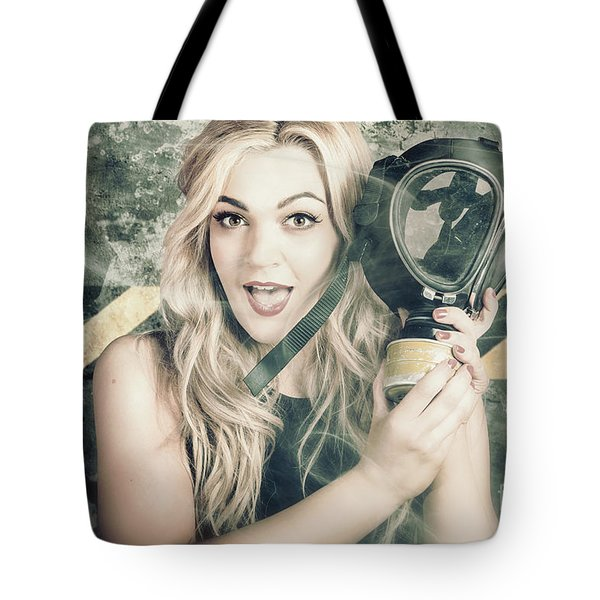 Nuclear Holocaust Pinup Girl In Toxic Shock Tote Bag