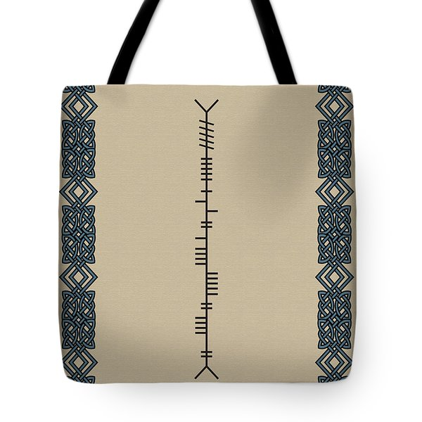 Tote Bag featuring the digital art O'connor Written In Ogham by Ireland Calling