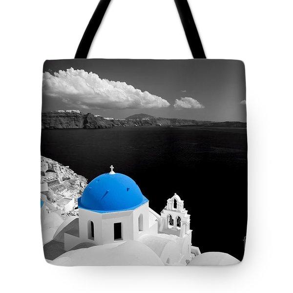 Oia Town On Santorini Island Greece Blue Dome Church Black And White. Tote Bag