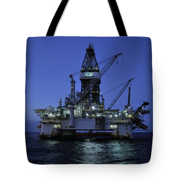 Oil Rig At Night Tote Bag