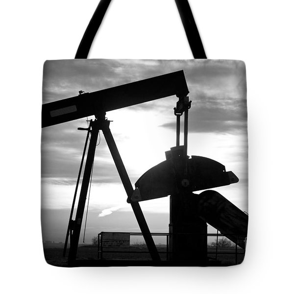 Oil Well Pump Jack Black And White Tote Bag
