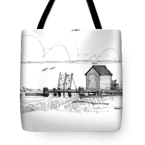 Tote Bag featuring the drawing Old Fishermans Wharf by Richard Wambach