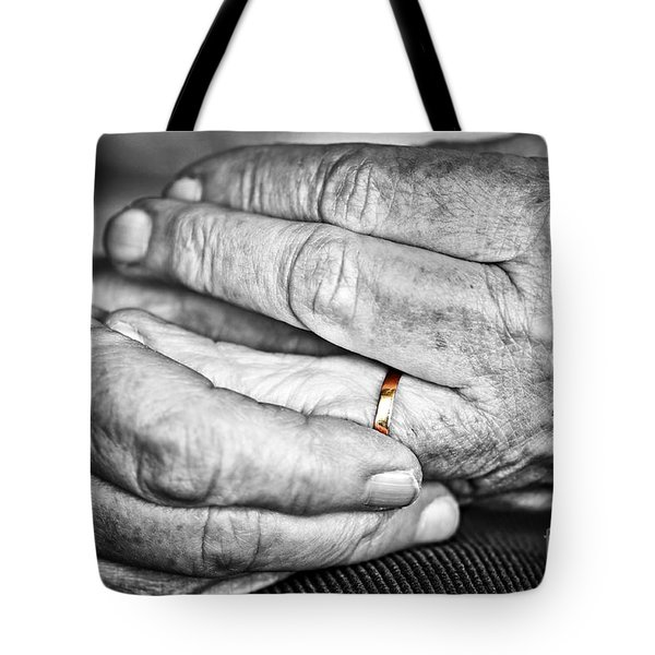 Old Hands With Wedding Band Tote Bag by Elena Elisseeva