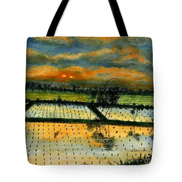 Tote Bag featuring the painting On The Way To Ubud Iv Bali Indonesia by Melly Terpening