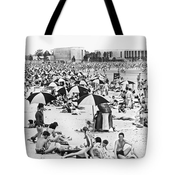 Orchard Beach In The Bronx Tote Bag by Underwood Archives