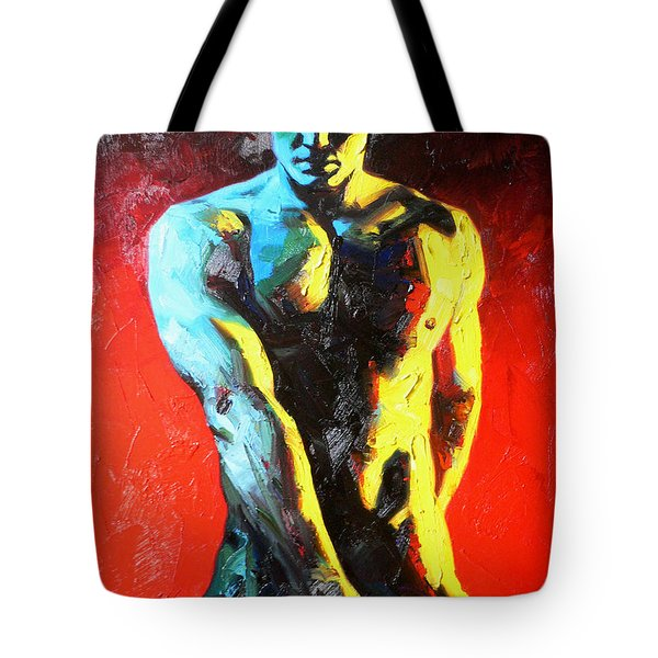 Original Abstract Oil Painting Art-male Nude By Kinfe Tote Bag