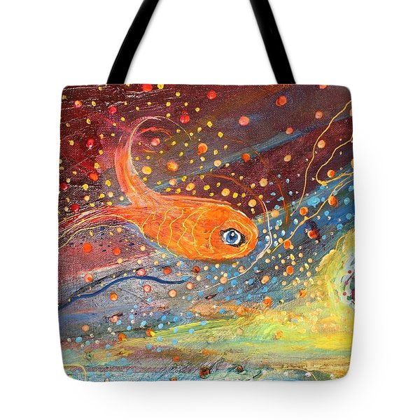 Original Painting Fragment 09  Tote Bag by Elena Kotliarker