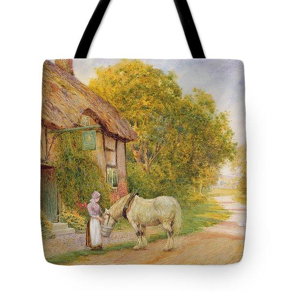 Outside The Village Inn Tote Bag by Arthur Claude Strachan