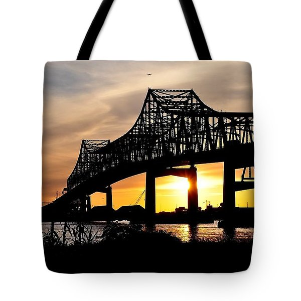 Over The Mississippi Tote Bag by Charlotte Schafer