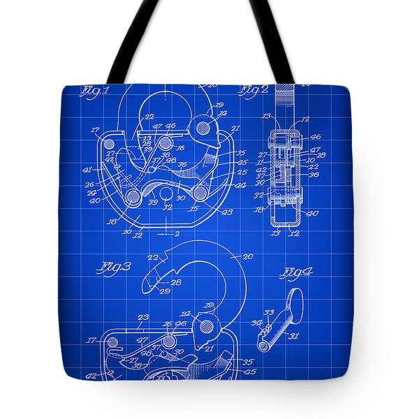 Padlock Patent 1935 - Blue Tote Bag by Stephen Younts