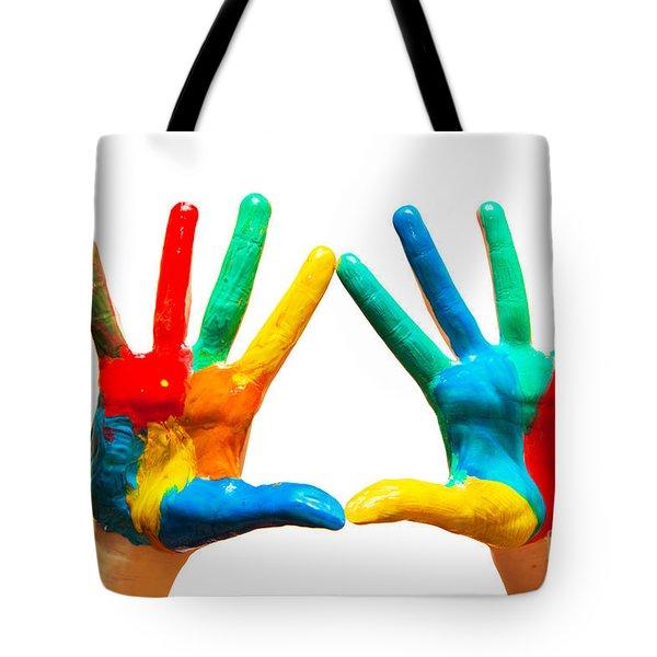 Painted Hands Tote Bag by Michal Bednarek