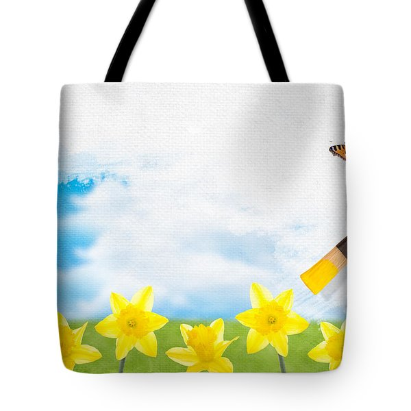 Painting Daffodils Tote Bag by Amanda Elwell