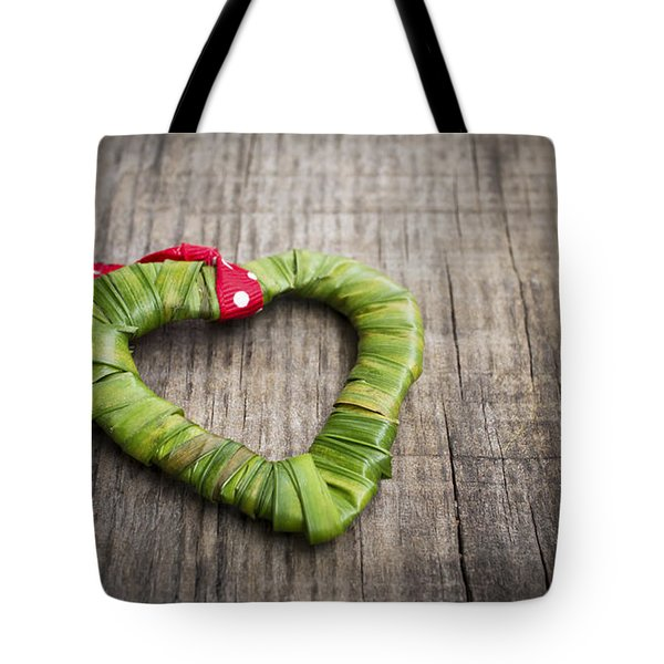 Palm Leaf Heart Tote Bag