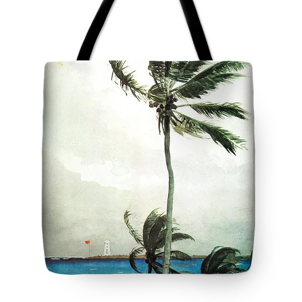 Tote Bag featuring the painting Palm Tree Nassau by Celestial Images