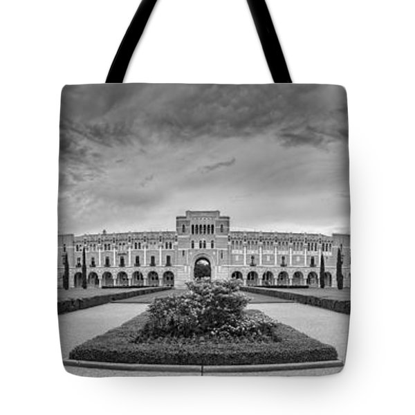 Panorama Of Rice University Academic Quad Black And White - Houston Texas Tote Bag