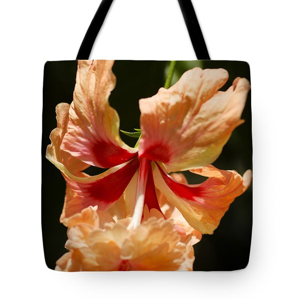 Peach And Red Flower Tote Bag